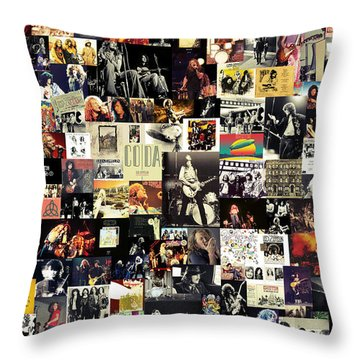 Led Zeppelin Collage Throw Pillow by Taylan Apukovska