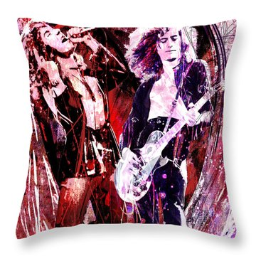 Led Zeppelin - Jimmy Page And Robert Plant Throw Pillow