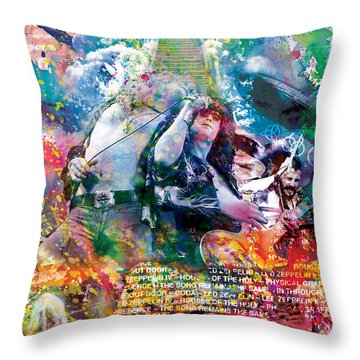 Led Zeppelin Original Painting Print  Throw Pillow by Ryan Rock Artist