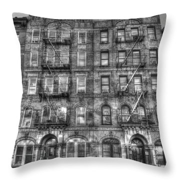 Led Zeppelin Physical Graffiti Building In Black And White Throw Pillow