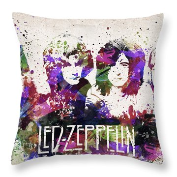 Led Zeppelin Portrait Throw Pillow by Aged Pixel