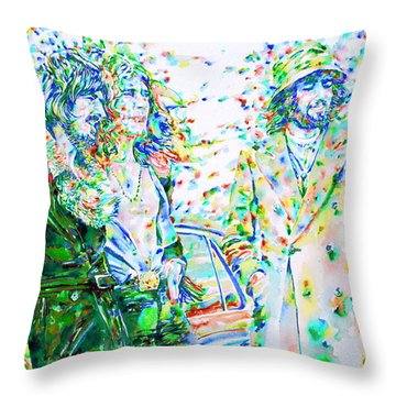 Led Zeppelin - Watercolor Portrait.2 Throw Pillow by Fabrizio Cassetta