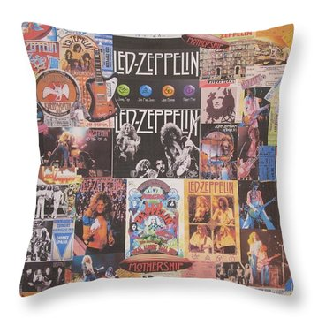 Led Zeppelin Years Collage Throw Pillow by Donna Wilson