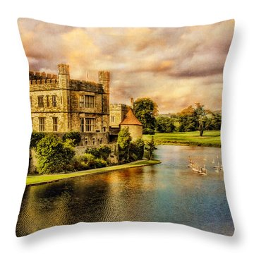 Leeds Castle Landscape Throw Pillow