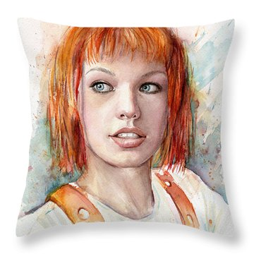 Leeloo Portrait Multipass The Fifth Element Throw Pillow by Olga Shvartsur