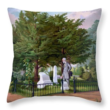 Lee's Final Visit To Stonewall Jackson  Throw Pillow