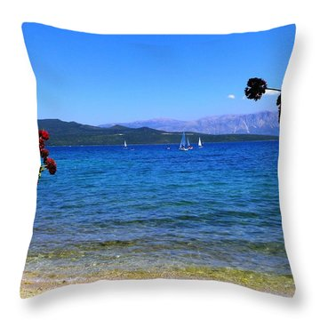 Lefkada Throw Pillow by Constantinos Charalampopoulos