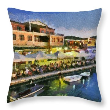 Lefkada Town During Dusk Time Throw Pillow by George Atsametakis