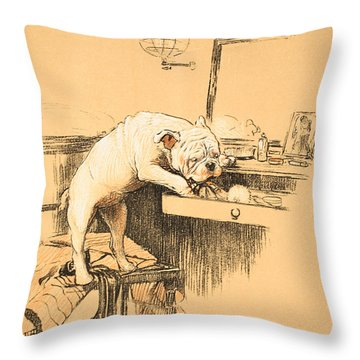 Left Alone In Her Dressing Room Throw Pillow by Cecil Charles Windsor Aldin