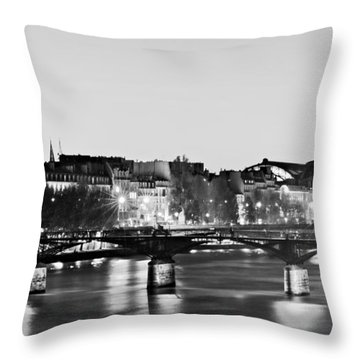 Left Bank At Night / Paris Throw Pillow