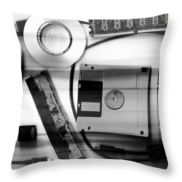 Leftover Tech - Black And White Throw Pillow