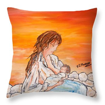 Throw Pillow featuring the painting Legame Continuo by Loredana Messina
