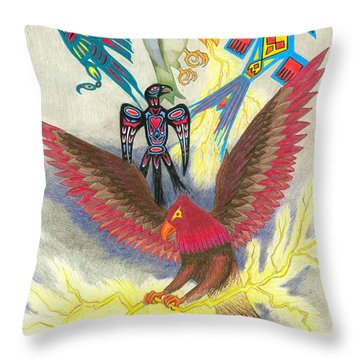 Legend Of The Thunderbird Throw Pillow by Lew Davis