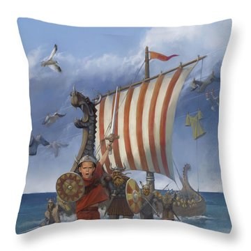 Throw Pillow featuring the painting Legendary Viking by Rob Corsetti