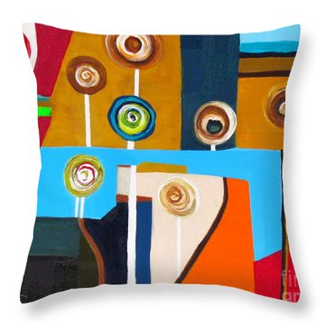Lego Flowers Throw Pillow by France Laliberte
