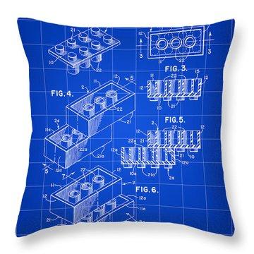 Lego Patent 1958 - Blue Throw Pillow