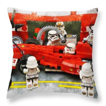 Lego Pit Stop Throw Pillow
