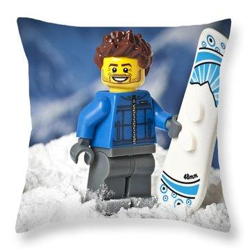 Lego Snowboarder Throw Pillow