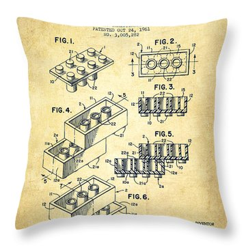 Lego Toy Building Brick Patent - Vintage Throw Pillow by Aged Pixel