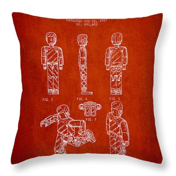 Lego Toy Figure Patent - Red Throw Pillow by Aged Pixel