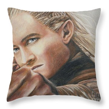 Legolas / Orlando Bloom Throw Pillow by Christine Jepsen