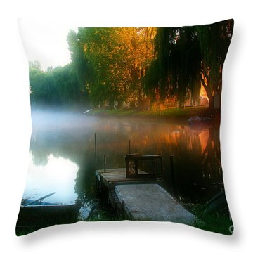 Leidy Lake Campground Throw Pillow by Douglas Stucky