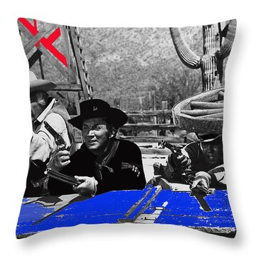 Leif Erickson Cameron Mitchell  Mark Slade Number 1 The High Chaparral Set Old Tucson Az 1969 Throw Pillow by David Lee Guss