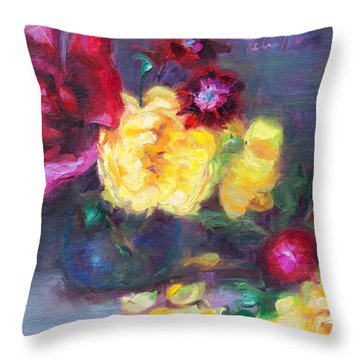 Lemon And Magenta - Flowers And Radish Throw Pillow