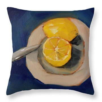 Lemon And One Half Throw Pillow by Lindsay Frost