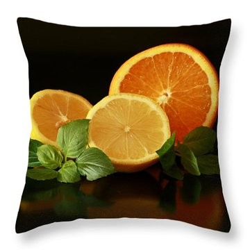 Lemon And Orange Delight Throw Pillow by Inspired Nature Photography Fine Art Photography