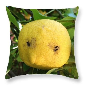 Lemon Face Throw Pillow