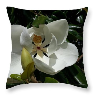Lemon Magnolia Throw Pillow