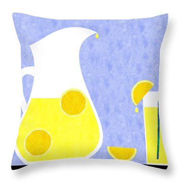 Lemonade And Glass Blue Throw Pillow by Andee Design