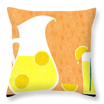 Lemonade And Glass Orange Throw Pillow