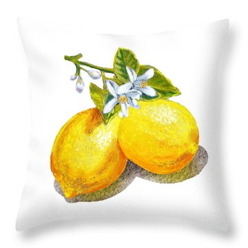 Throw Pillow featuring the painting Lemons And Blossoms by Irina Sztukowski