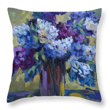 Lemons And Lilacs Throw Pillow by Diane McClary