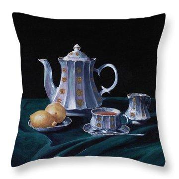 Lemons And Tea Throw Pillow by Anastasiya Malakhova