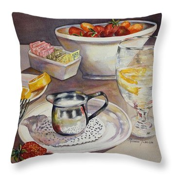 Lemons And Things Throw Pillow by Roxanne Tobaison