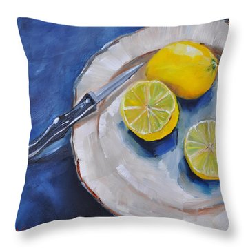 Lemons On A Plate Throw Pillow by Lindsay Frost