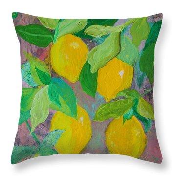 Lemons On Lemon Tree Throw Pillow
