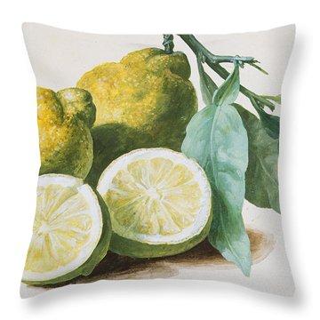 Lemons Throw Pillow by Pierre Joseph Redoute