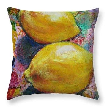 Lemons Throw Pillow by Sheila Diemert