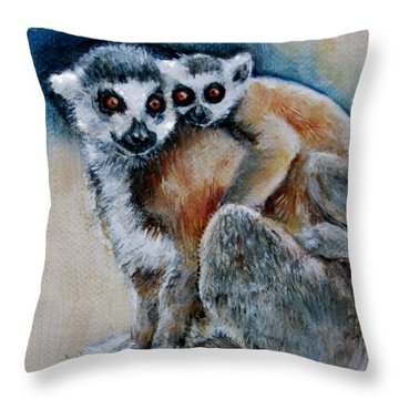 Lemur Miniature Throw Pillow by Jean Cormier