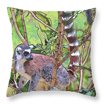 Lemur Sketch Throw Pillow by Dan Dooley