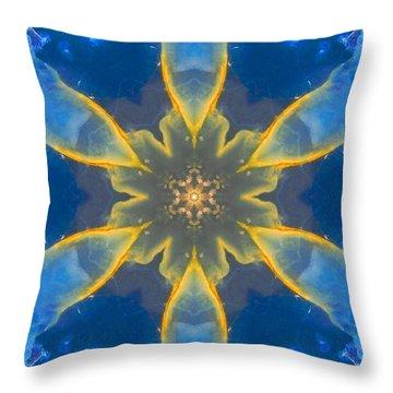 Lemurian Aquatine Calcite Mandala Throw Pillow