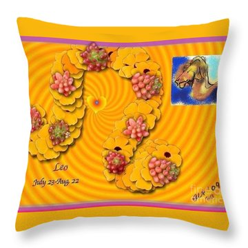 Throw Pillow featuring the digital art Leo  by The Art of Alice Terrill