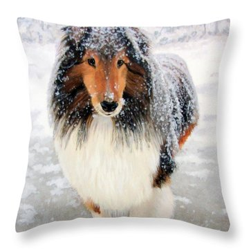 Leo In The Snow Throw Pillow