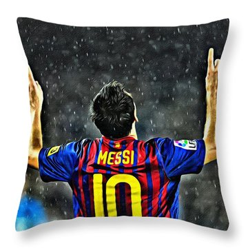 Leo Messi Poster Art Throw Pillow