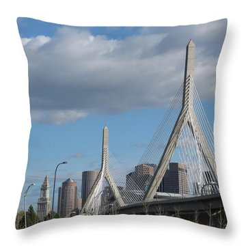 Leonard P Zakim Bridge Throw Pillow by Barbara McDevitt