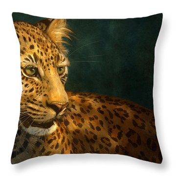 Leopard Throw Pillow by Aaron Blaise